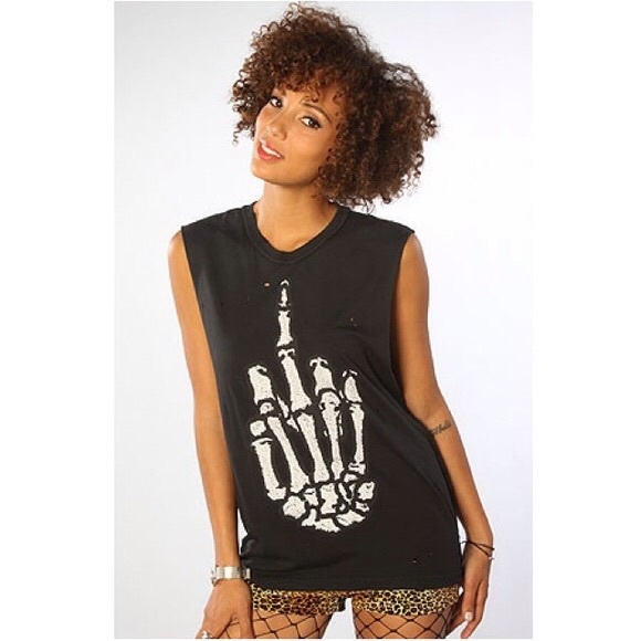 UNIF Middle Finger Semi-Cropped Tank